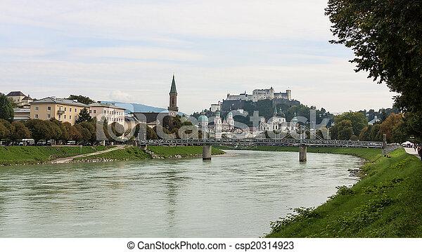 Salzburg skyline with river Salzach in Salzburger Land, Austria - csp20314923