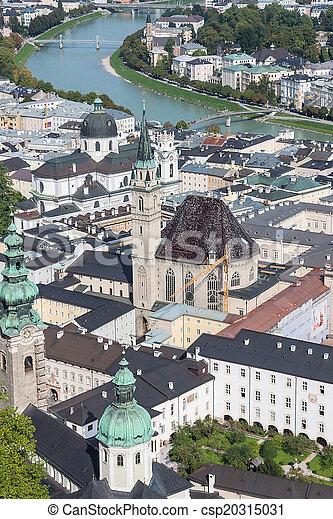 Salzburg skyline with river Salzach in Salzburger Land, Austria - csp20315031