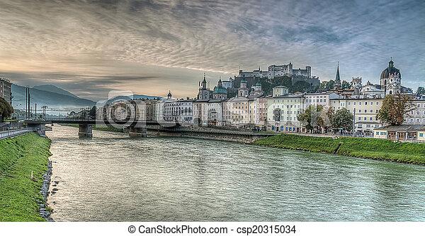 Salzburg skyline with river Salzach in Salzburger Land, Austria - csp20315034