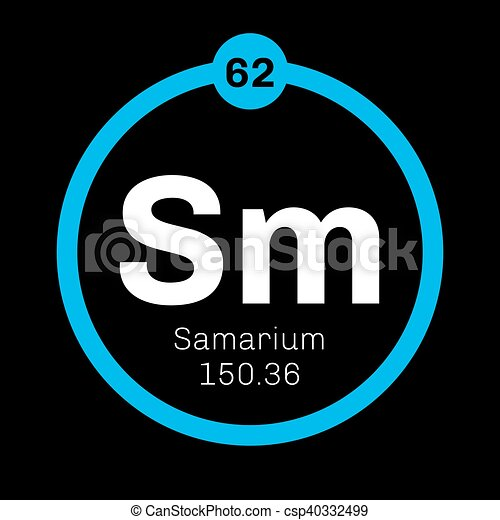 Samarium Chemical Element Part Of The Lanthanide Series Colored
