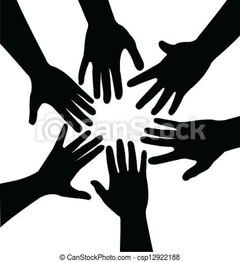 samen, handen, vector - csp12922188