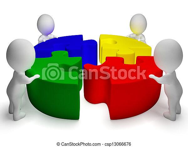 samenwerking, raadsel, opgeloste, eenheid, karakters, optredens, 3d - csp13066676