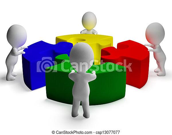 samenwerking, raadsel, opgeloste, eenheid, karakters, het tonen, 3d - csp13077077