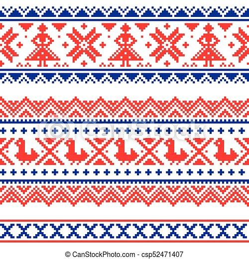 Sami, arte, escandinavo, laponia, estilo, patrón, o, banda, vector ...