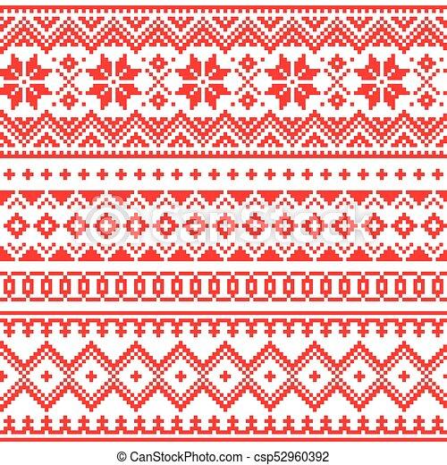 Sami, arte, invierno, gente, laponia, seamless, patrón, tradicional ...