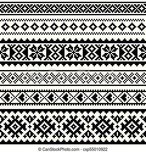 Sami Vector Seamless Pattern Lapland Folk Art Traditional Knitting