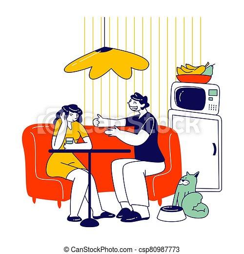 samica, samiec, uninvolved, cierpienie, nieznośny, posiedzenie, communication., ilustracja, mieć, dziewczyna, linearny, litery, rozmowa, kuchnia, wektor, nudny, kawa, picie, interlocutor., ludzie - csp80987773