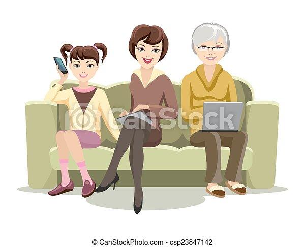 samice, gadżety, leżanka, posiedzenie - csp23847142