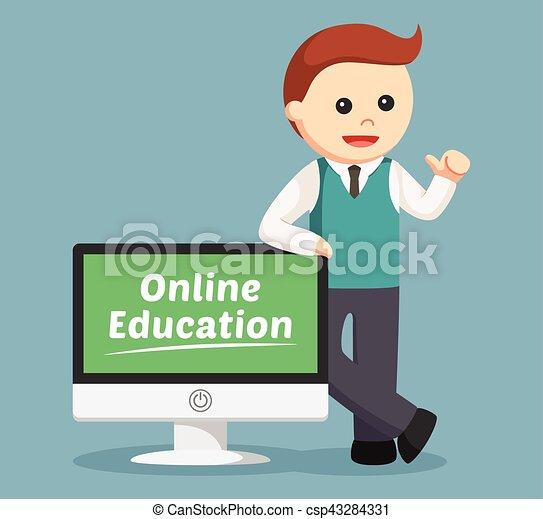 samiec, wykształcenie, nauczyciel, online - csp43284331