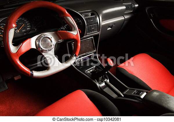 sammet, stämd, bil., lyxvara, inre, sport, röd - csp10342081