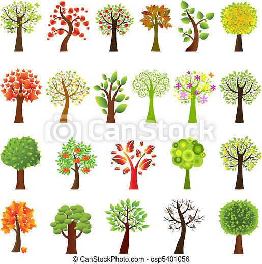 sammlung, bäume - csp5401056