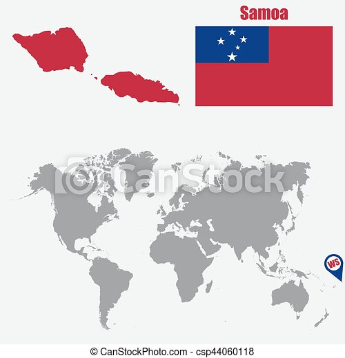 Samoa Map On A World Map With Flag And Map Pointer Vector - Samoa map vector