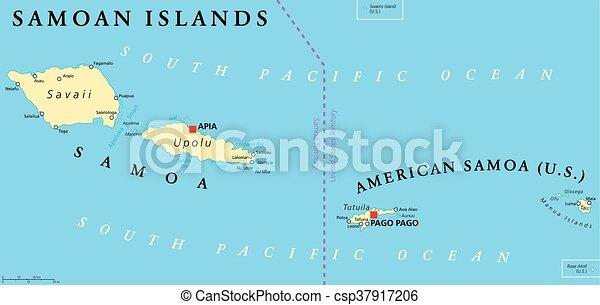samoan islands political map csp37917206