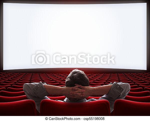samotny, teatr, posiedzenie, film, ilustracja, vip, człowiek, hala, opróżniać, 3d - csp55198008