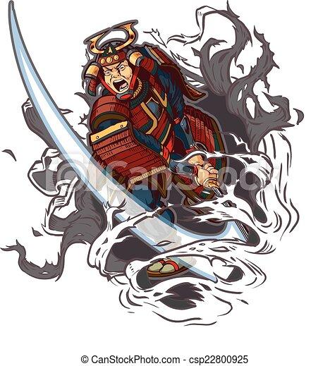samouraï, par, barrer, fond - csp22800925