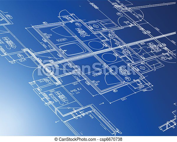 Sample of architectural blueprints over a blue background sample of architectural blueprints csp6670738 malvernweather Gallery