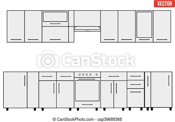 Sample of Modular kitchen objects. - csp39688368