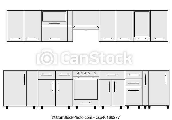 Sample of Modular kitchen objects. - csp46168277