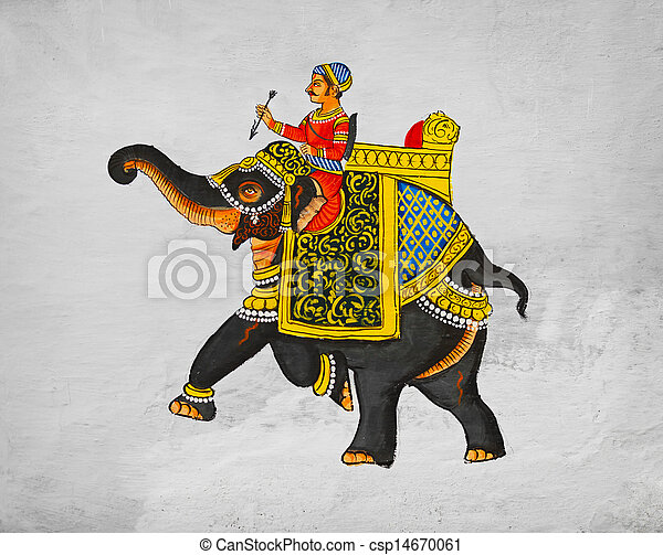 Sample of traditional mural - image of the maharaja of riding on an elephant. India Udaipur - csp14670061