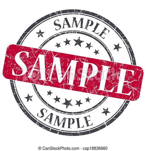 Sample red grunge round stamp on white background - csp18836660