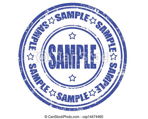 Grunge black sample word round rubber seal stamp on white.