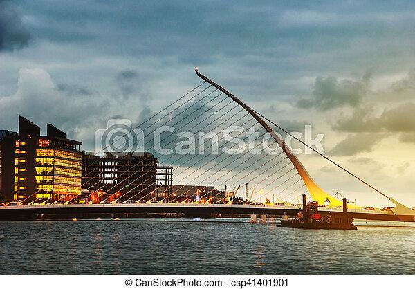 Samuel Becket Bridge at sunset in Dublin - csp41401901