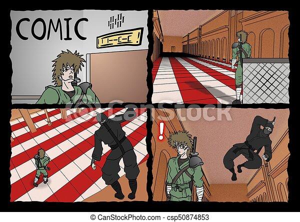 samurai and ninja comic page - csp50874853