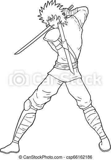 Guerrero samurai a colorear - csp66162186
