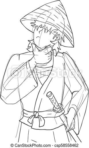 Dibujo de samurai - csp58558462