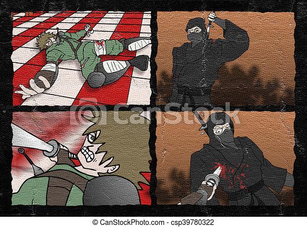 samurai fighters comic - csp39780322
