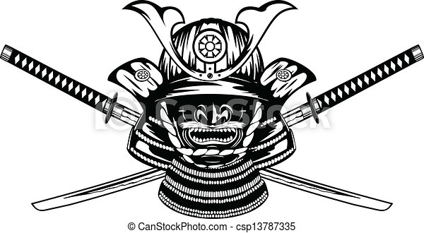 samurai helmet and crossed katanas - csp13787335