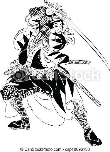 Samurai in Action illustration - csp10096138