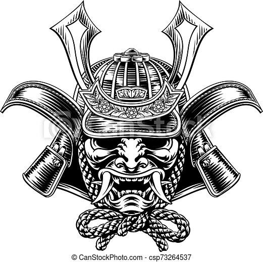 samurai mask japanese shogun warrior helmet. a samurai mask japanese shogun  warrior helmet illustration. | canstock  can stock photo