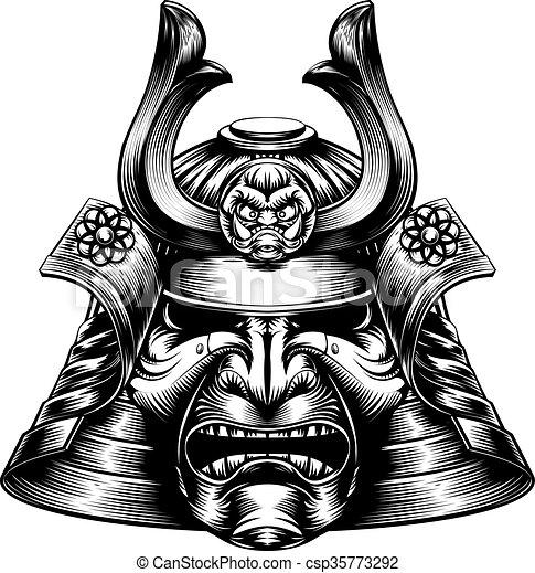 Samurai Mask Woodcut Style - csp35773292