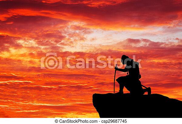 Samurai on top of mountain. Conceptual design. - csp29687745