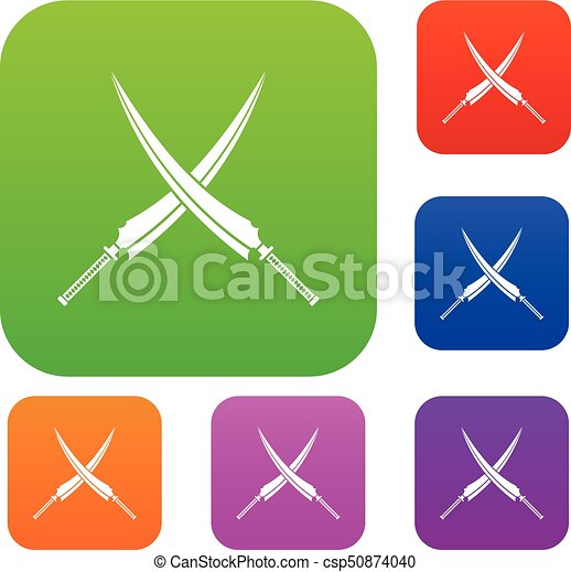 Samurai swords set color collection - csp50874040