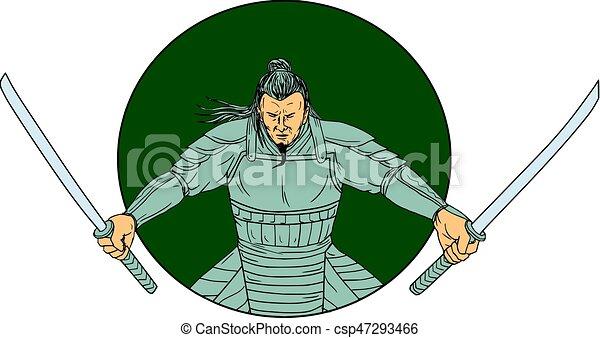 Samurai Warrior Wielding Two Swords Oval Drawing - csp47293466