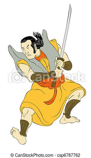 Samurai warrior with katana sword fighting stance - csp6787762
