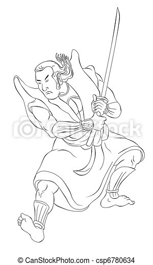 Label Kleurplaat Samurai Warrior With Katana Sword Fighting Stance