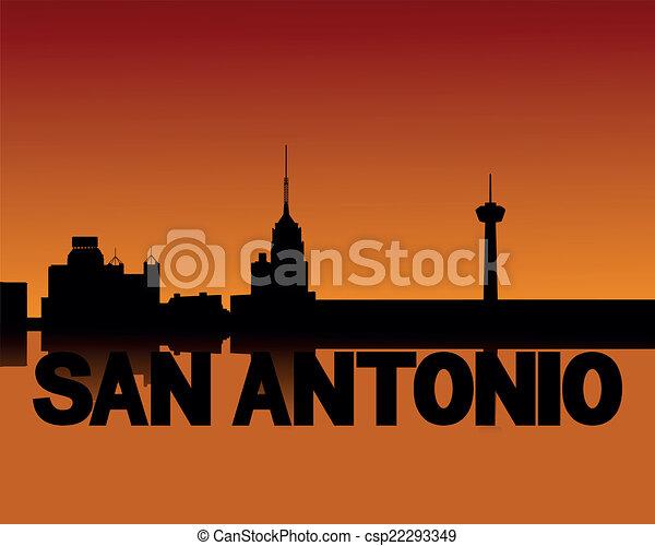 San Antonio skyline at sunset - csp22293349