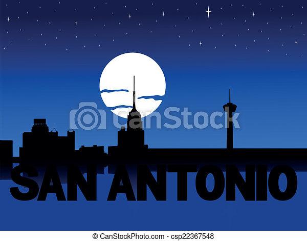 San Antonio skyline moon - csp22367548