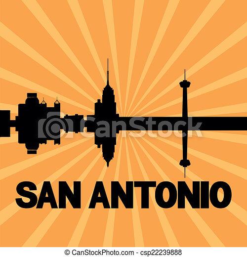 San Antonio skyline sunburst - csp22239888