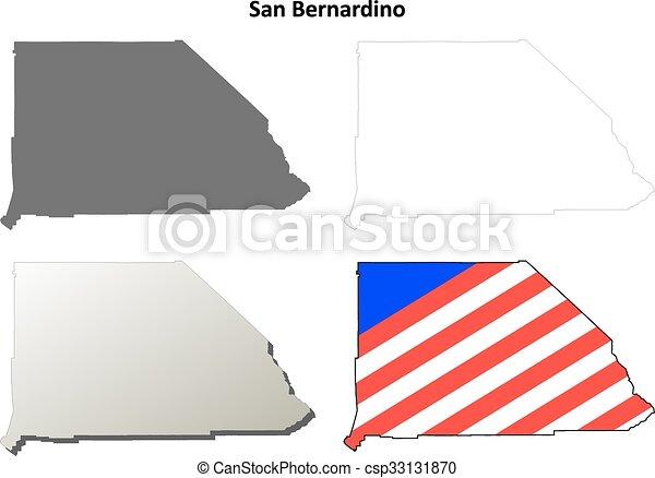 San Bernardino County California Outline Map Set