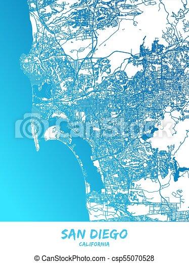 San Diego, California - Map Poster Design