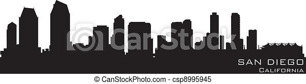 san diego california skyline detailed vector silhouette csp8995945