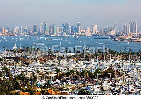 San Diego California Skyline On A Foggy Day