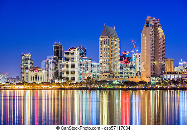 San Diego California Usa Skyline San Diego California Usa Downtown Cityscape At Night
