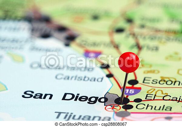 San diego pinned on a map of usa. Photo of pinned san diego on a map ...