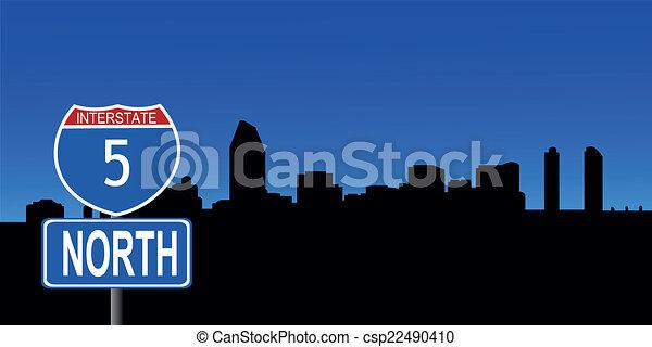 San Diego skyline interstate sign - csp22490410