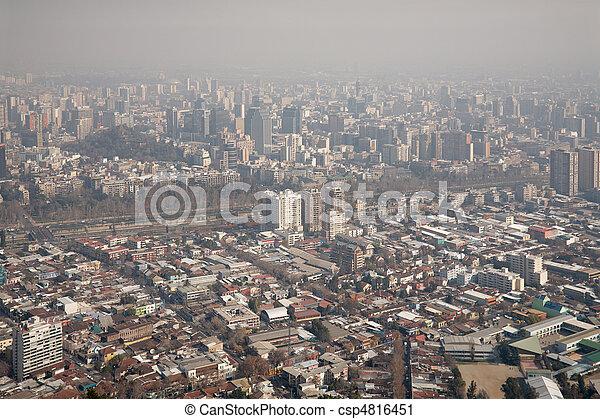 san, encima, cristobal, chile, niebla tóxica, santiago, cerro, vista - csp4816451